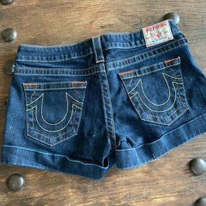True Religion Allie denim cuffed shorts